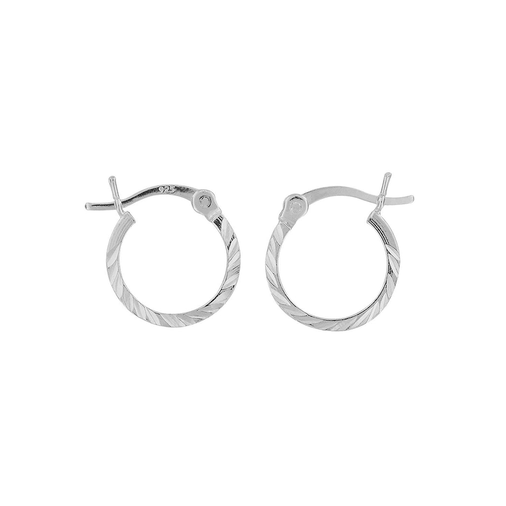 Sterling Silver XS Small Huggies Hoop Earrings Diamond-Cut 1.2mm x 12mm