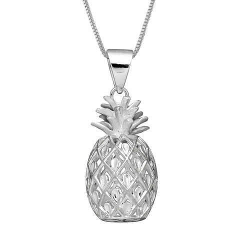 Sterling Silver Medium Pineapple Pendant Necklace, 16+2