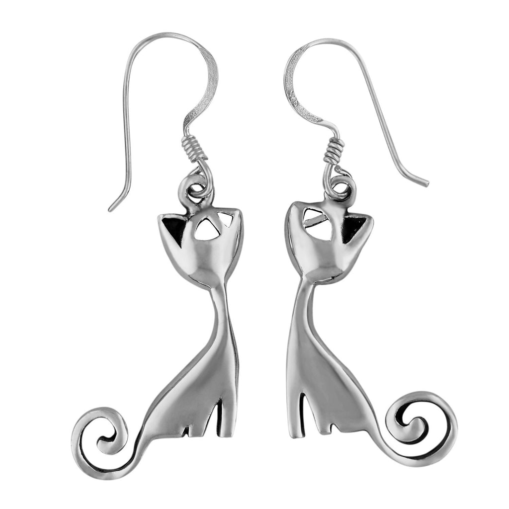 Sterling Silver Kitty Cat Dangle Earrings