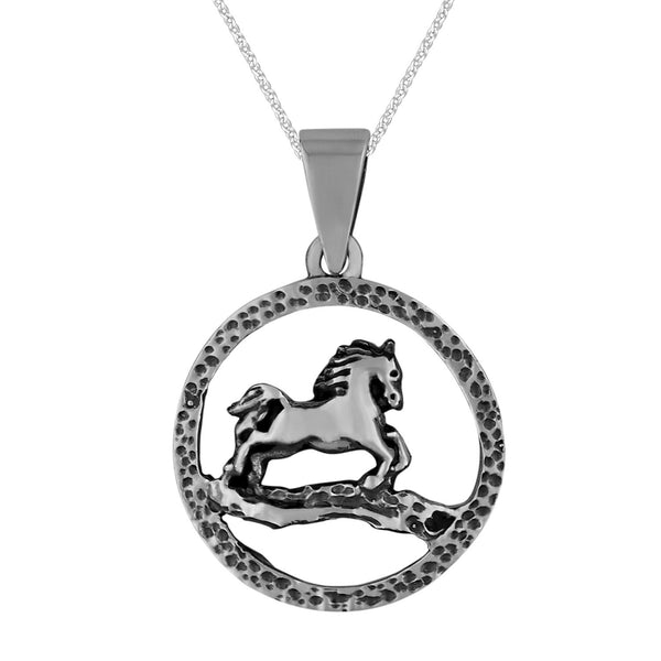 Sterling Silver Small Circle Horse Pendant Necklace, 18
