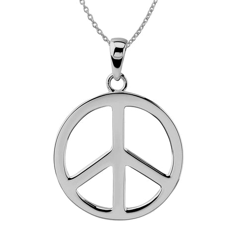 Sterling Silver Large Peace Sign Pendant Necklace, 18