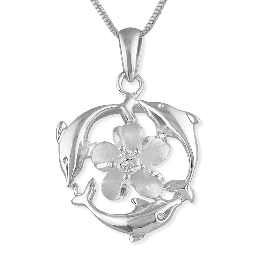 Sterling Silver Triple Dolphin Plumeria Pendant Necklace, 16+2