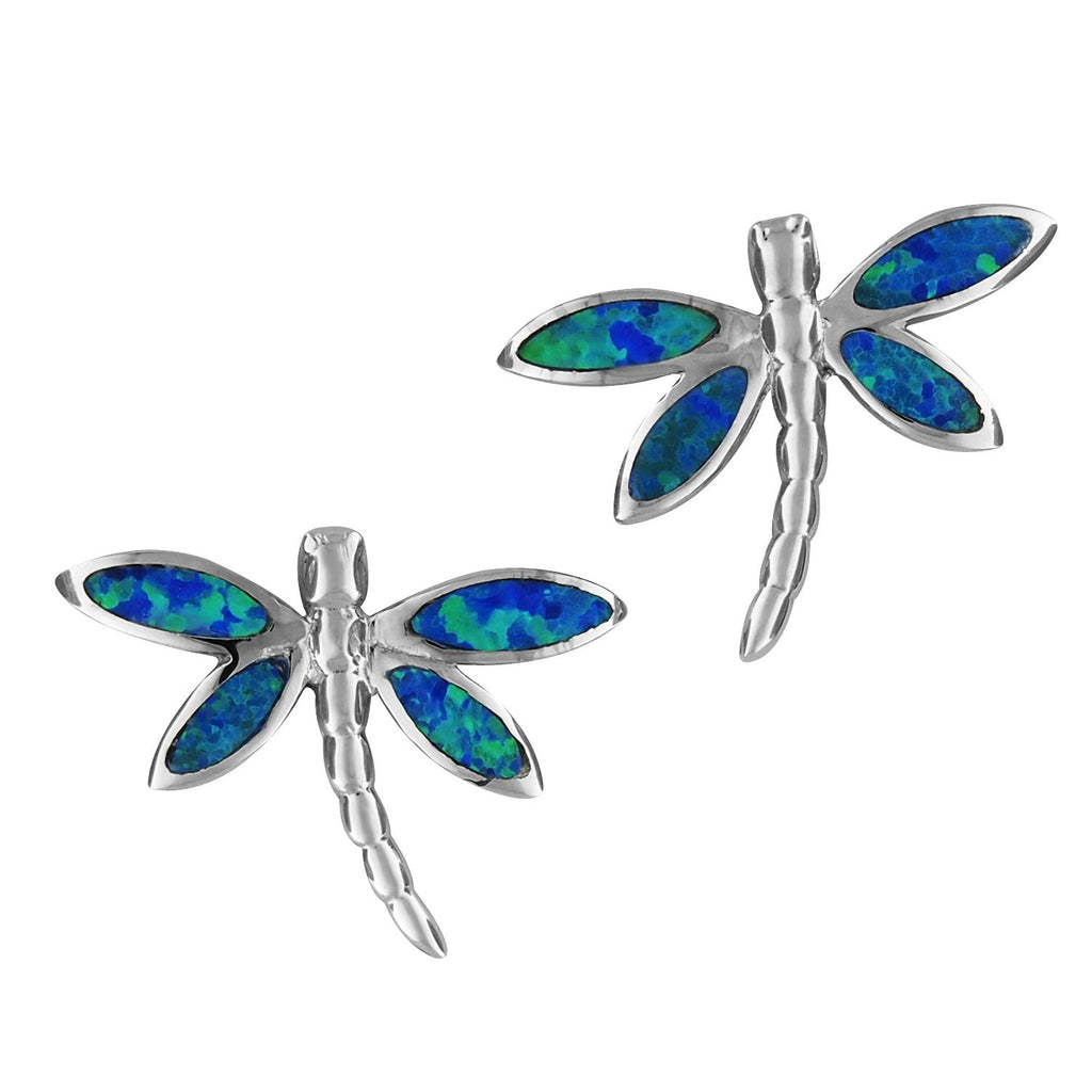 Sterling Silver Synthetic Blue Opal Dragonfly Stud Earrings