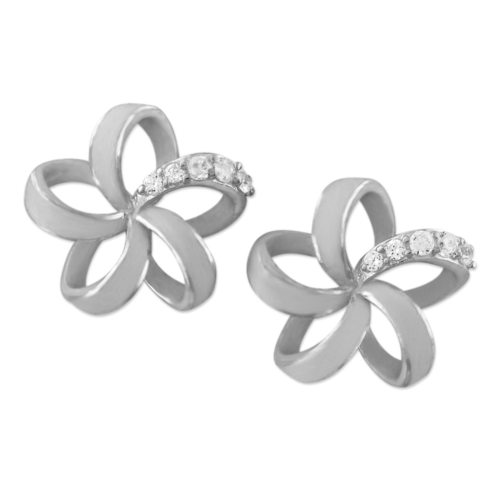 Rhodium Plated Sterling Silver Open Plumeria Stud Earrings