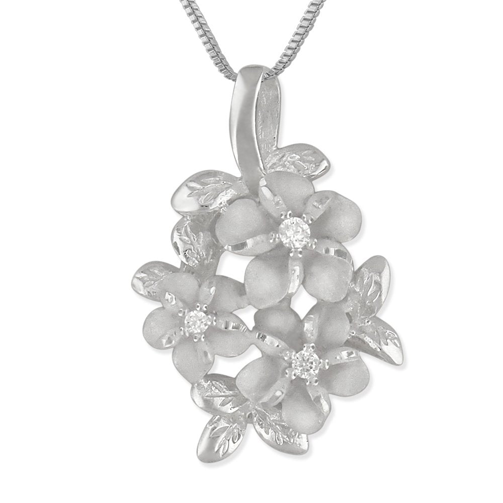 Sterling Silver 3 Plumeria and Maile Round Pendant Necklace, 16+2