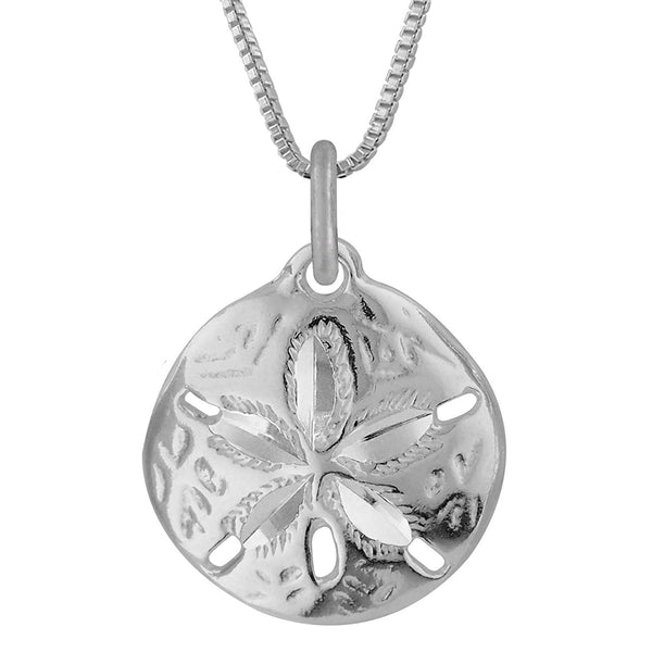 Sterling Silver Sand Dollar Charm Pendant Necklace, 18