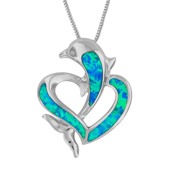 Sterling Silver Synthetic Blue Opal Open Heart Dolphin Pendant Necklace, 18