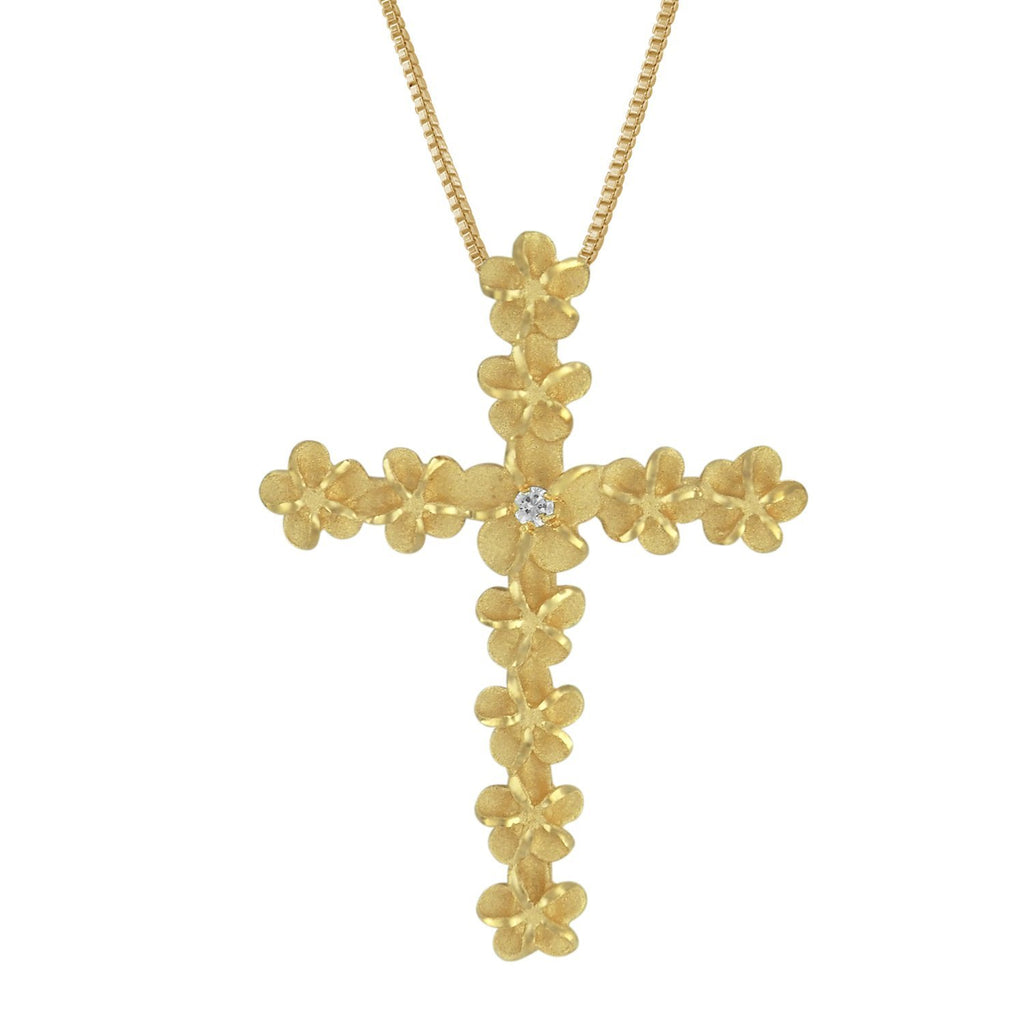 14kt Yellow Gold Plated Sterling Silver Plumeria Cross Pendant Necklace, 16+2
