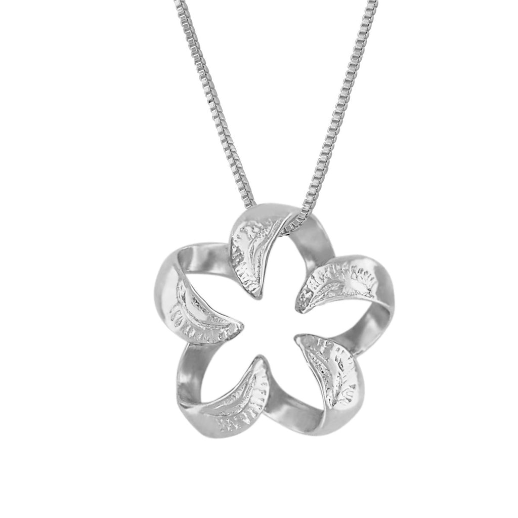 Sterling Silver Engraved Small Open Plumeria Pendant Necklace, 16+2