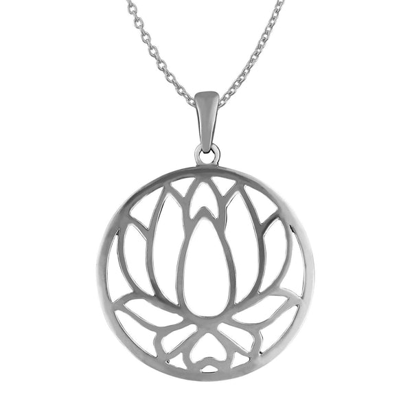 Sterling Silver Cut Out Lotus Pendant Necklace, 18