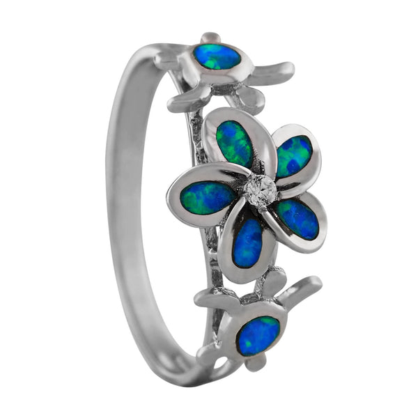 Sterling Silver Synthetic Opal Plumeria Turtle Ring