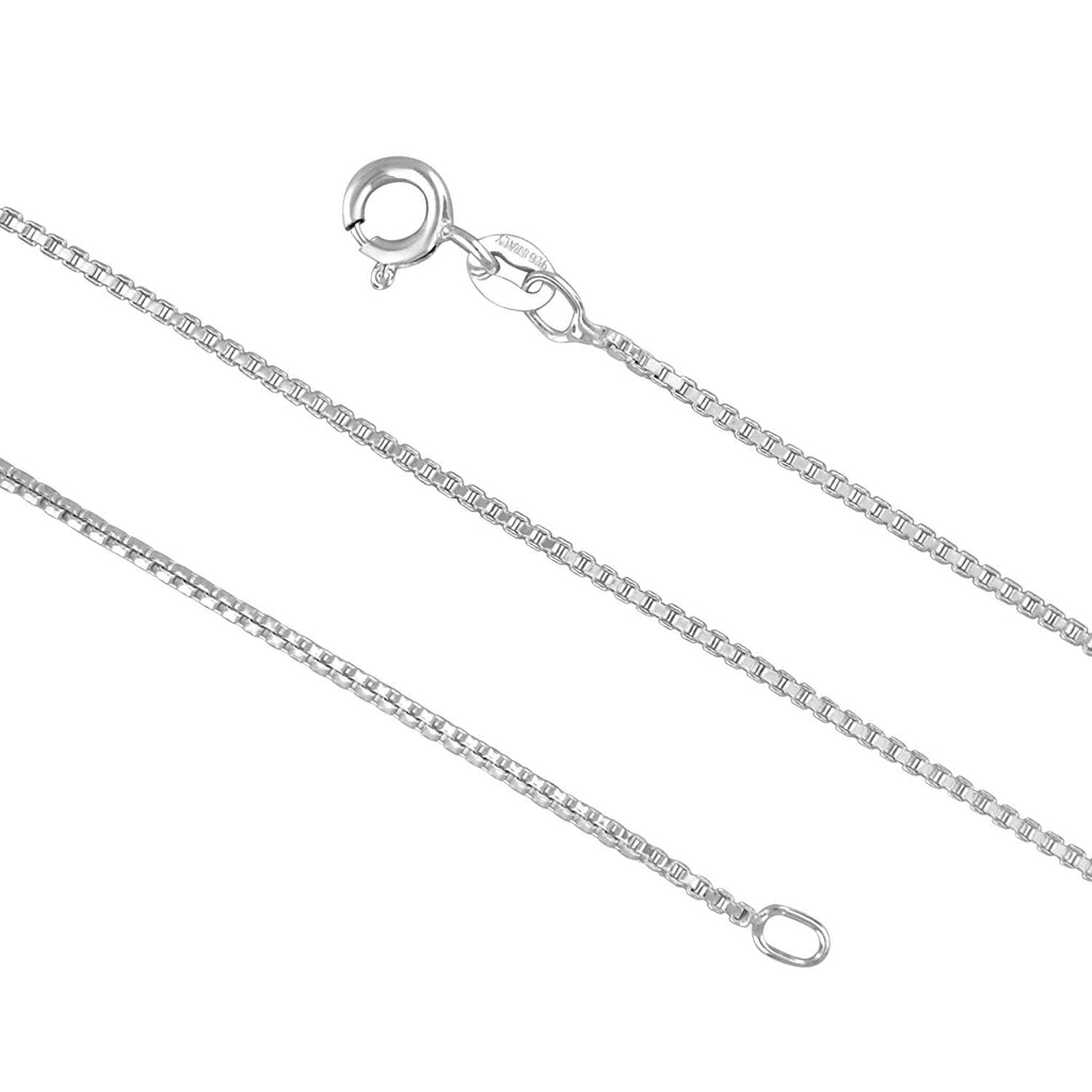 Sterling Silver 1.3mm Box Chain Necklace Solid Italian Nickel-Free, 16-36 Inch