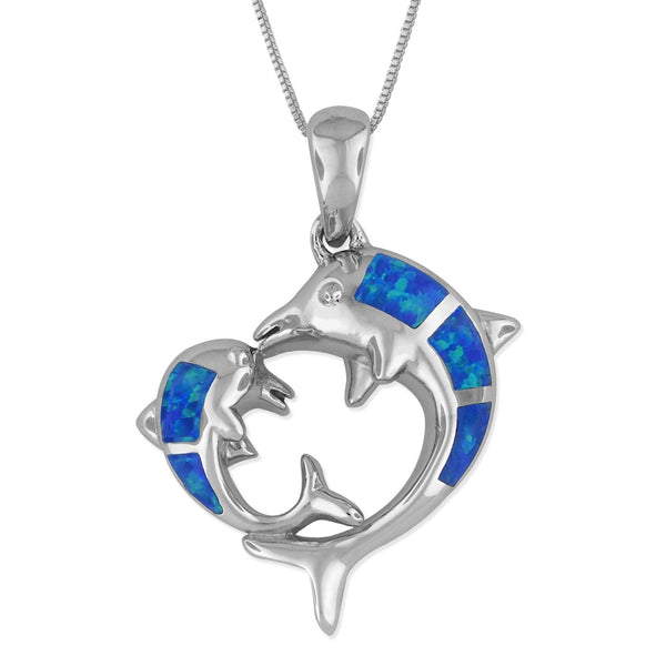 Sterling Silver Synthetic Blue Opal Mother Child Dolphin Pendant Necklace, 16+2