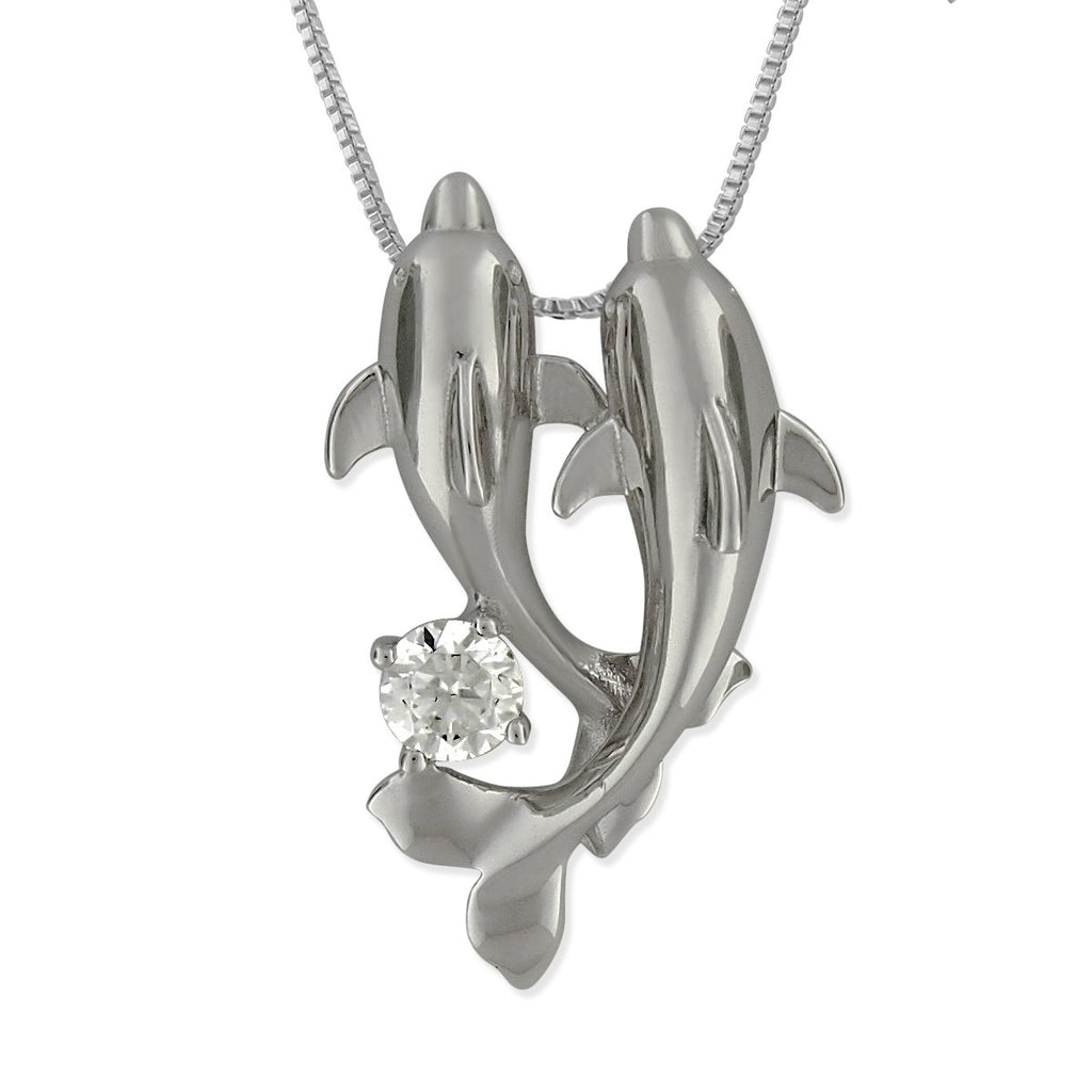 Rhodium Plated Sterling Silver Double Dolphin Pendant Necklace, 16+2