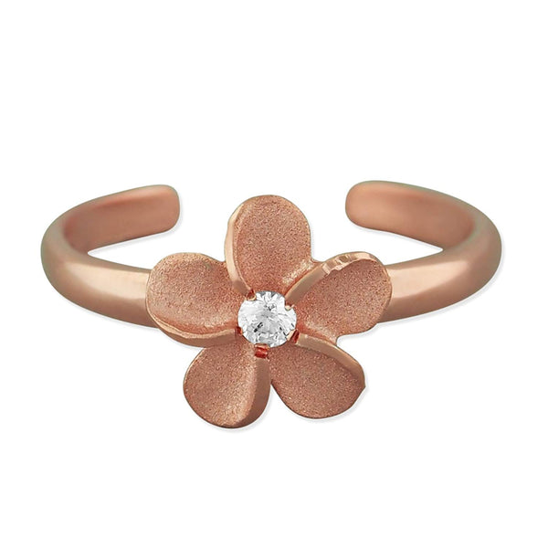 14kt Rose Gold Plated Sterling Silver 8mm Plumeria Band Toe Ring