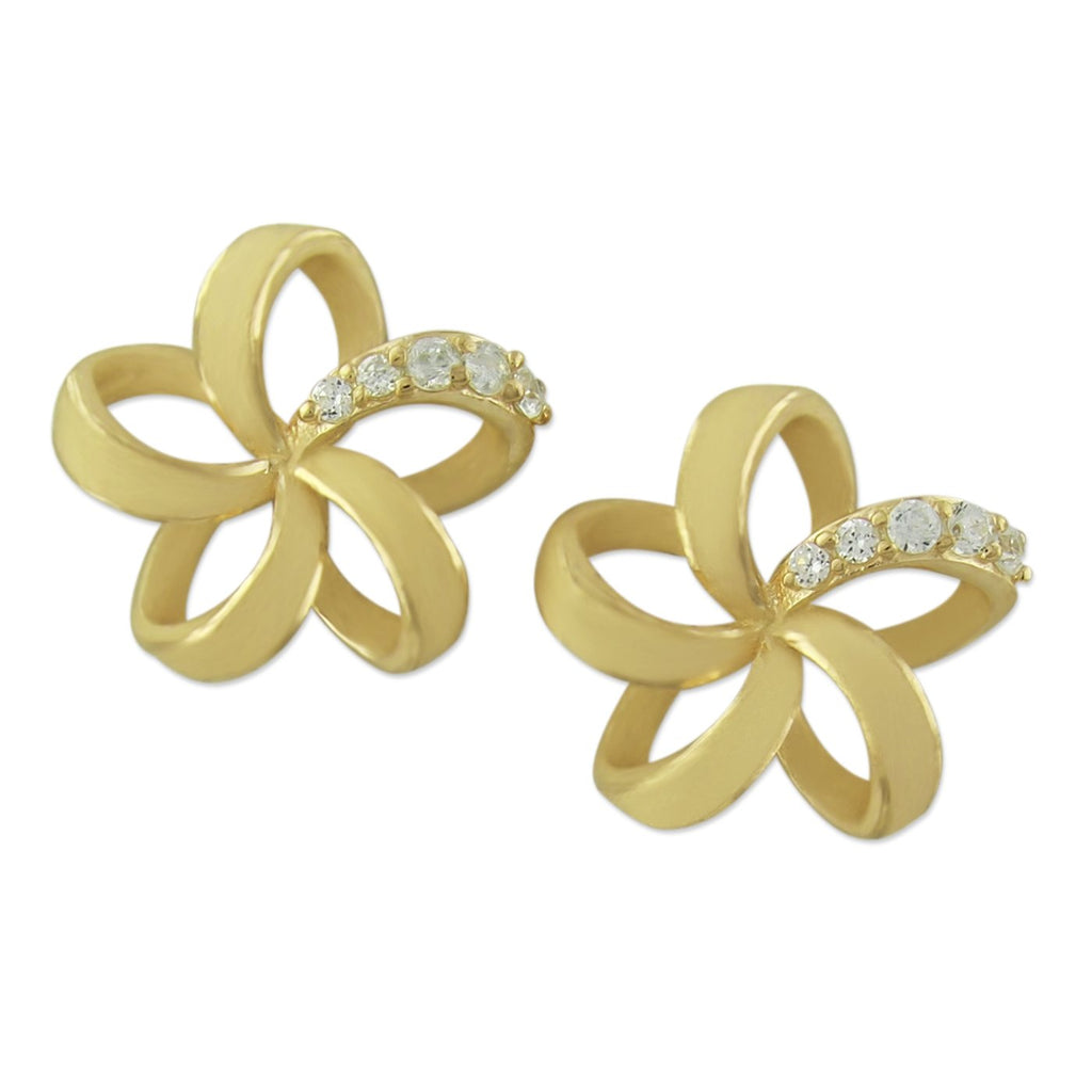 14kt Yellow Gold Plated Sterling Silver Open Plumeria Stud Earrings