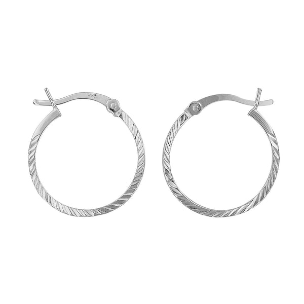 Sterling Silver Small Hoop Earrings Diamond-Cut 1.2mm x 19mm