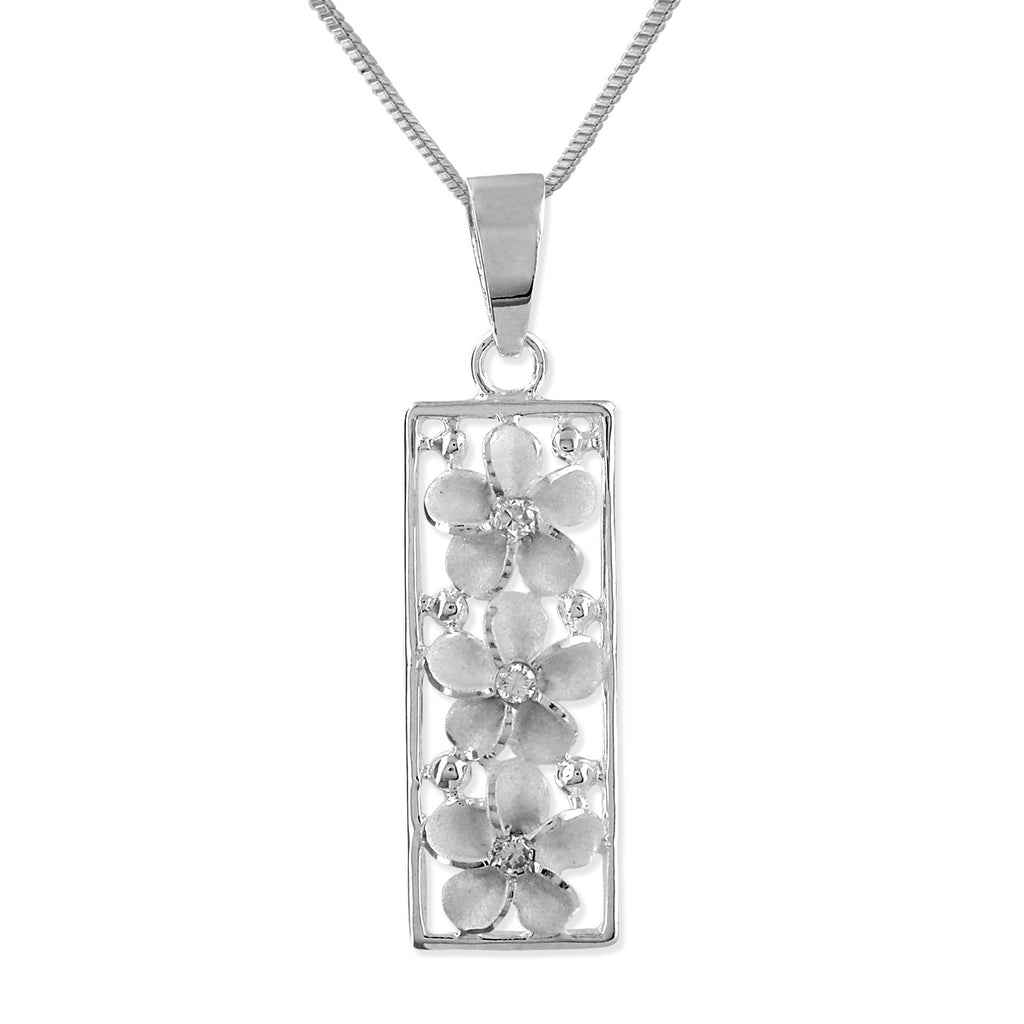 Sterling Silver Plumeria Vertical Bar Pendant Necklace, 16+2