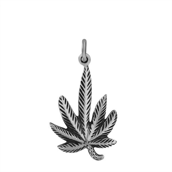 Sterling Silver Marijuana Pendant Upwards