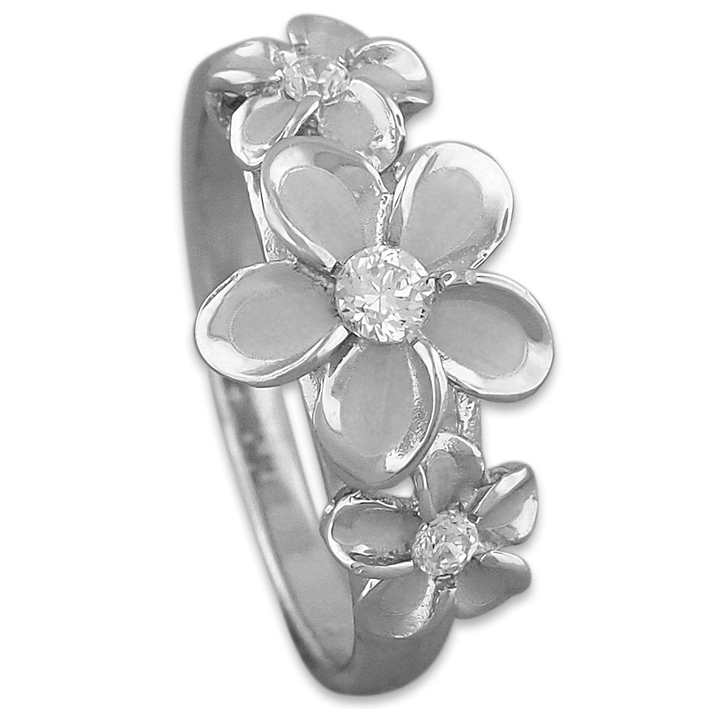 Sterling Silver Hawaiian Three Plumeria Ring