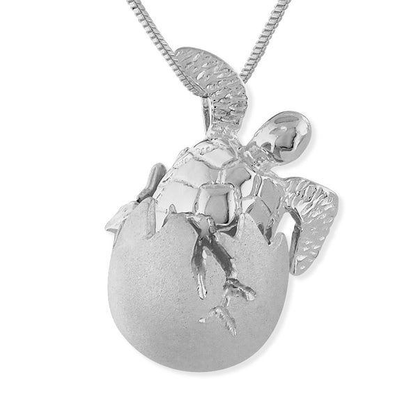 Sterling Silver Baby Turtle Hatchling Egg Pendant Necklace, 16+2