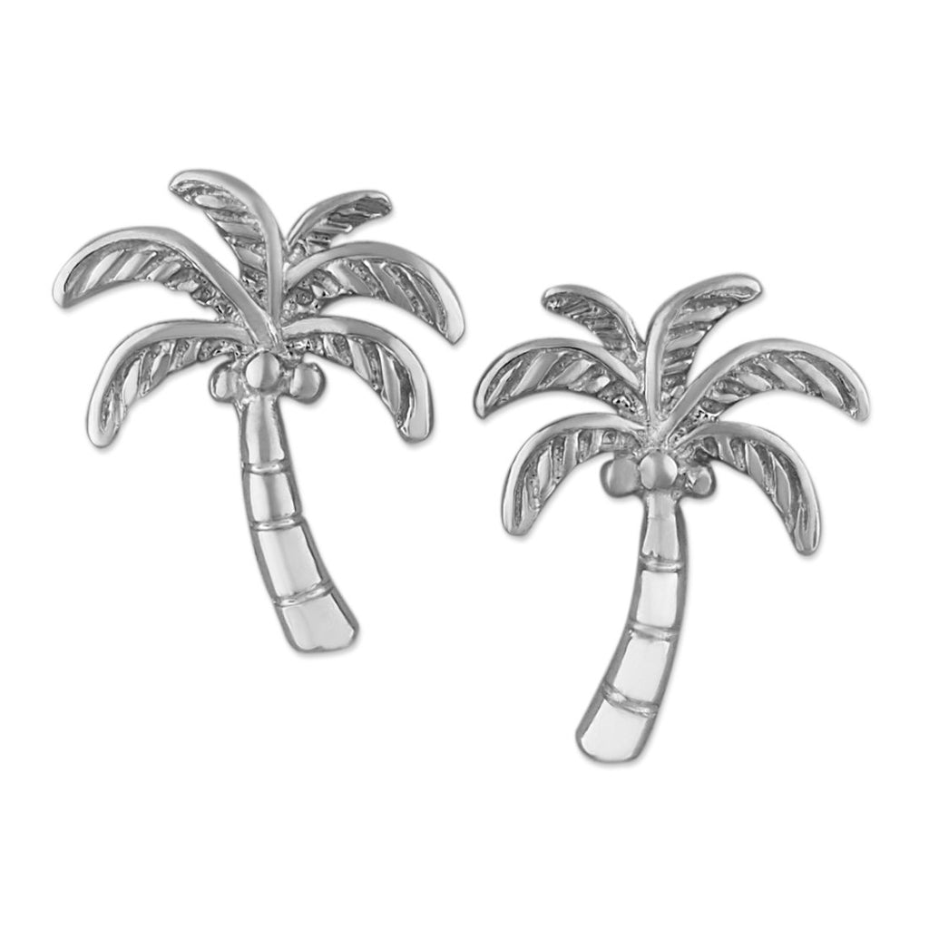 Rhodium Plated Sterling Silver Coconut Palm Tree Stud Earrings