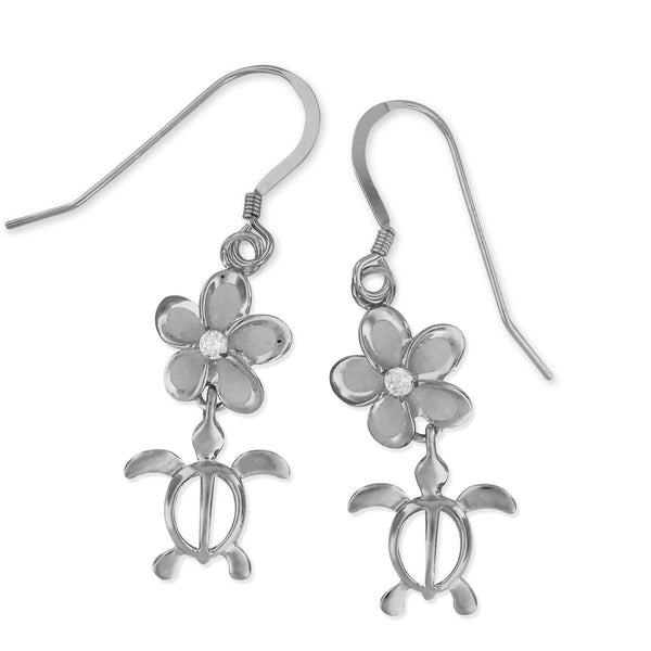 Rhodium Plated Sterling Silver Plumeria Turtle Dangle Earrings