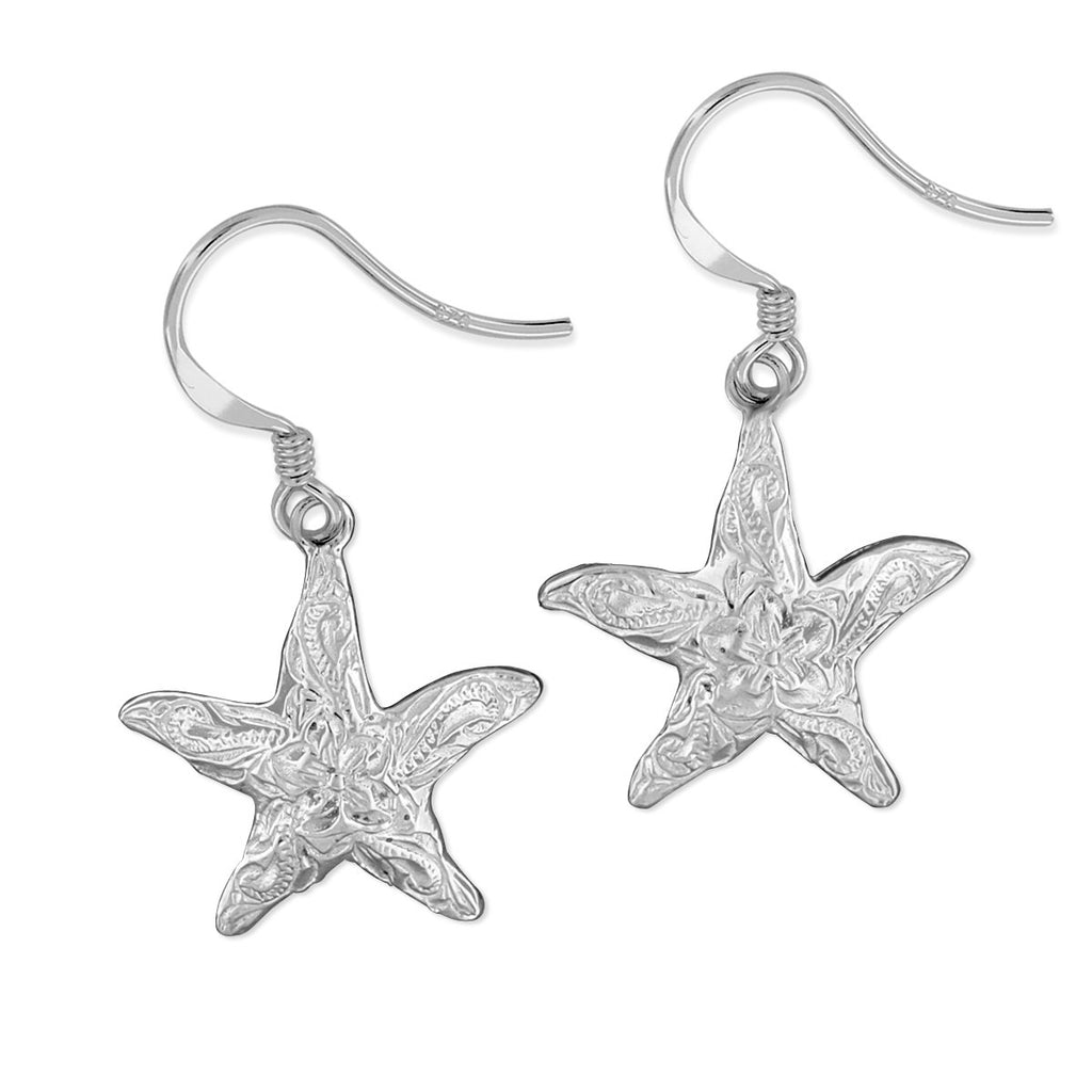 Sterling Silver 15mm Engraved Starfish Dangle Earrings