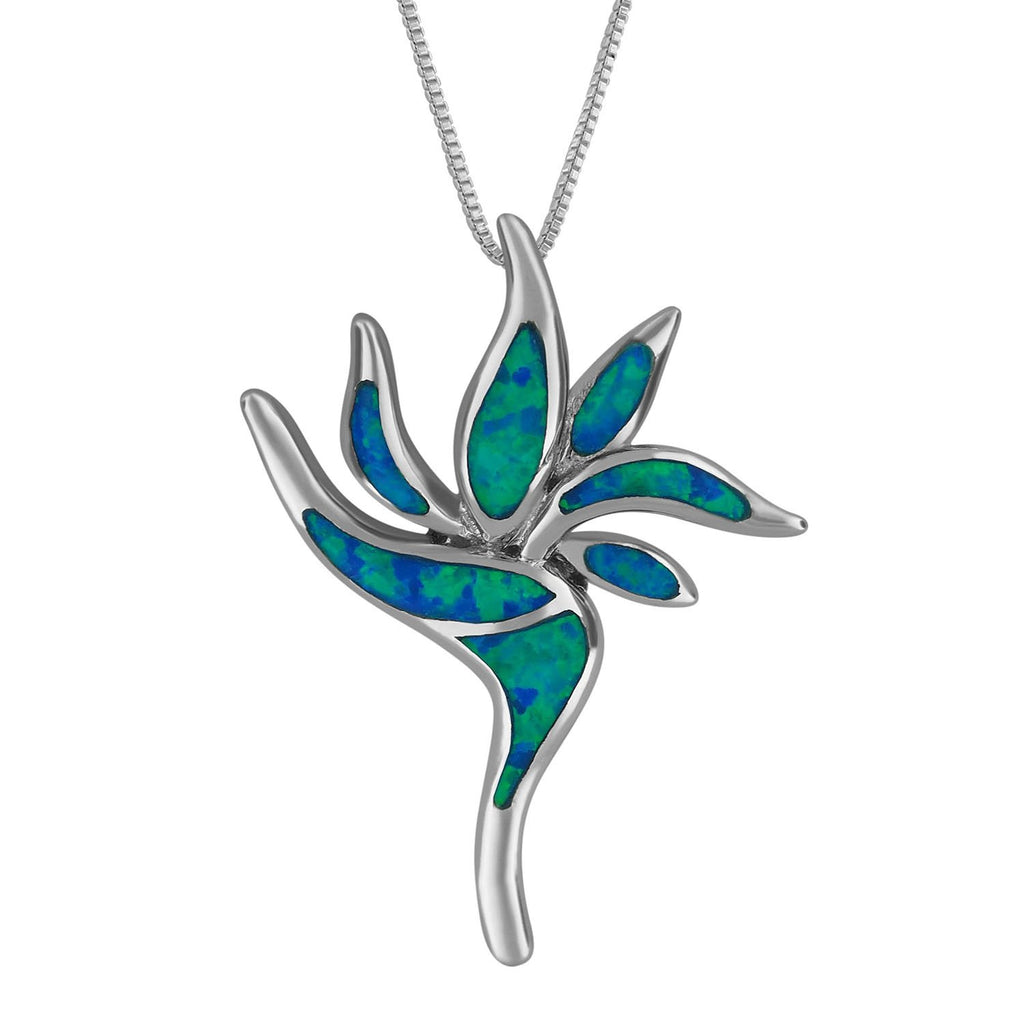 Sterling Silver Synthetic Blue Opal Bird of Paradise Pendant Necklace, 16+2