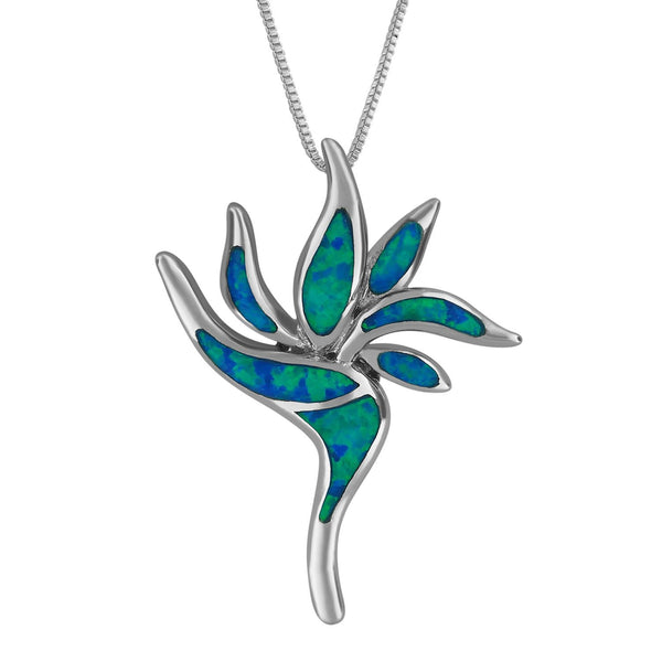 Sterling Silver Synthetic Opal Bird of Paradise Pendant Necklace