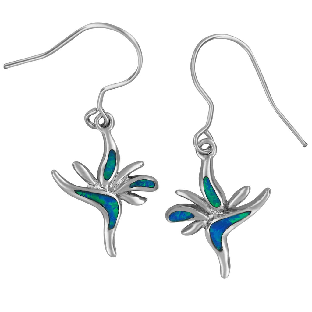 Sterling Silver Synthetic Opal Bird of Paradise Dangle Earrings