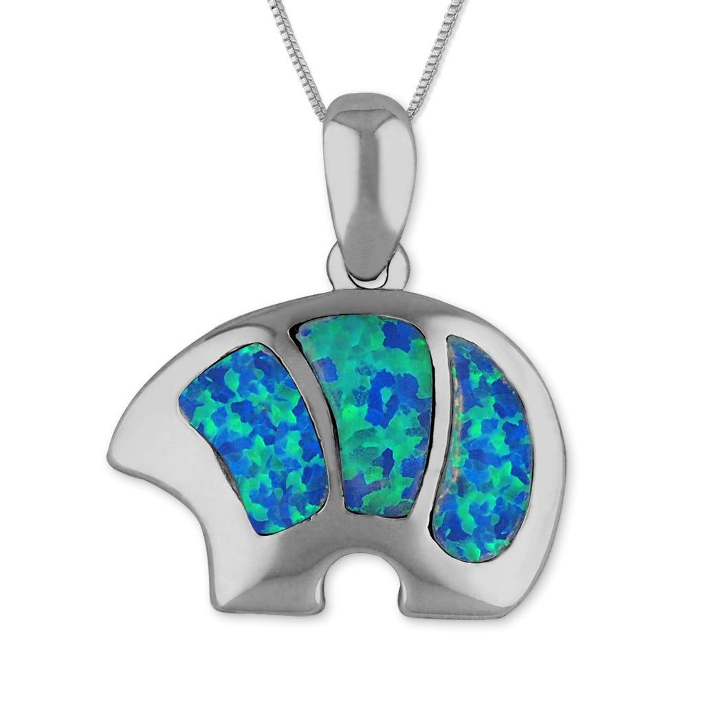 Sterling Silver Synthetic Blue Opal Bear Pendant Necklace, 16+2