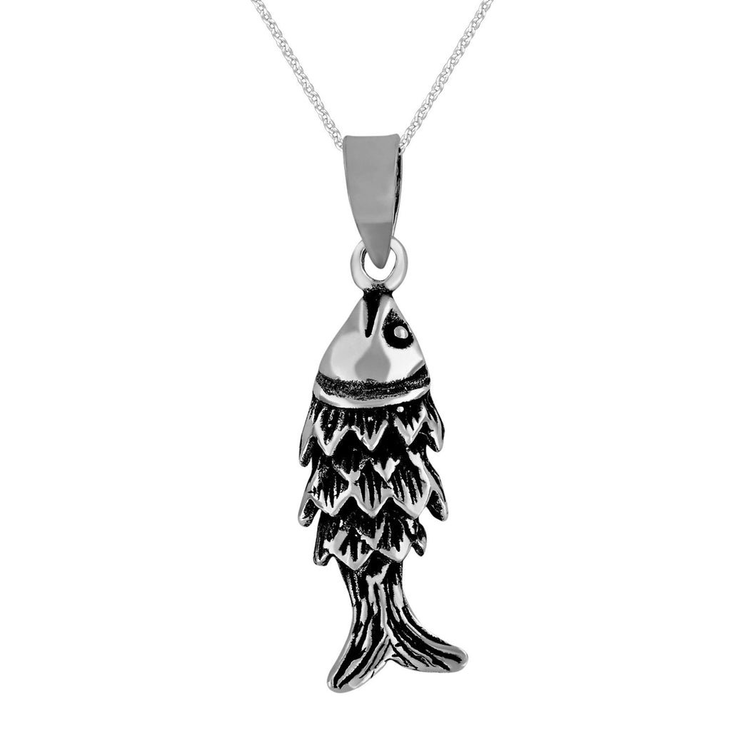 Sterling Silver Small Segmented Fish Pendant Necklace, 18