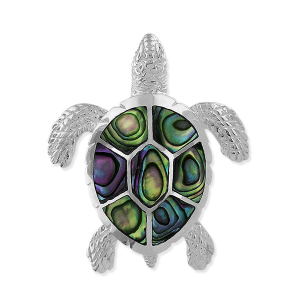 Sterling Silver Abalone Shell Turtle Pendant 1Inch Wide