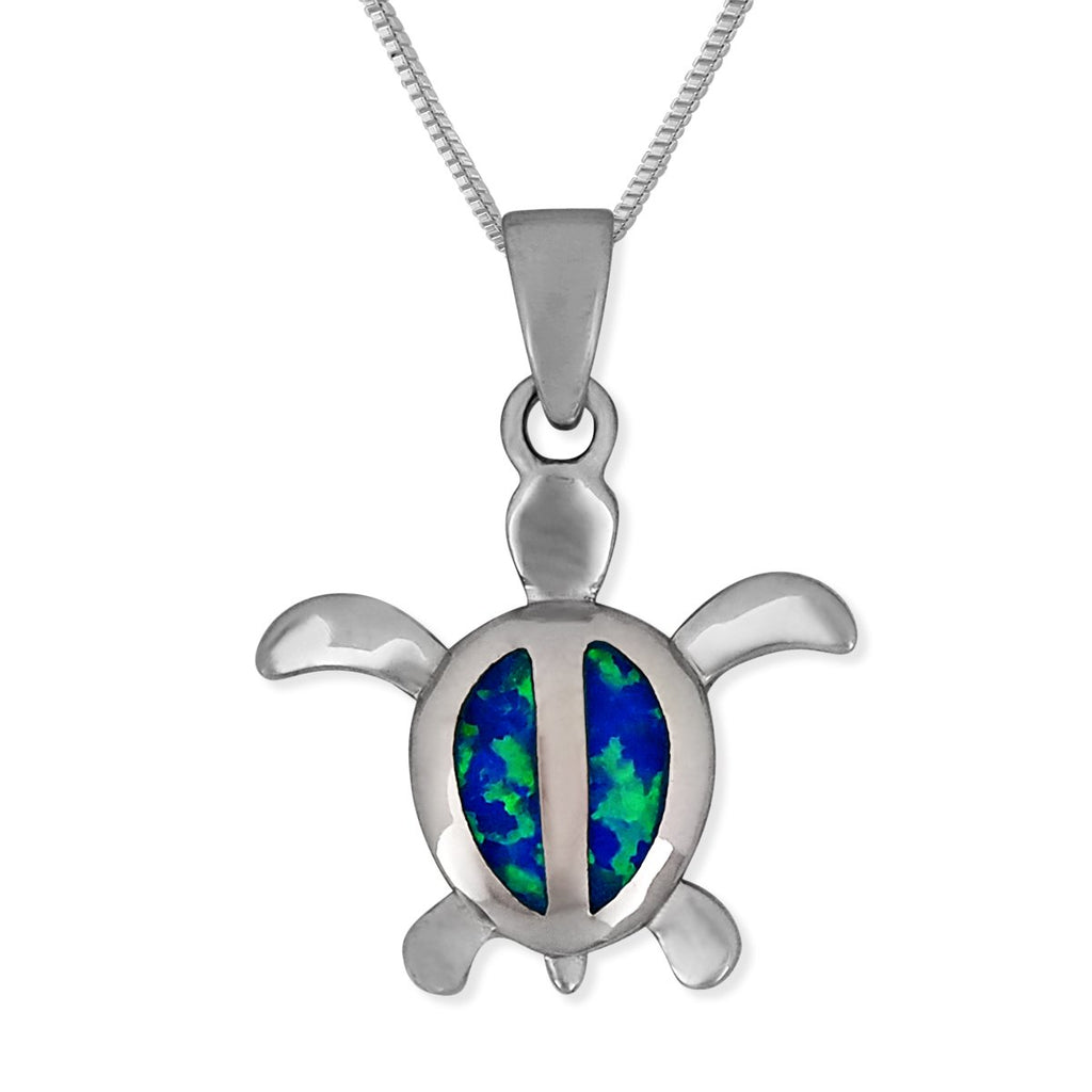 Sterling Silver Synthetic Blue Opal 15mm Turtle Pendant Necklace, 16+2