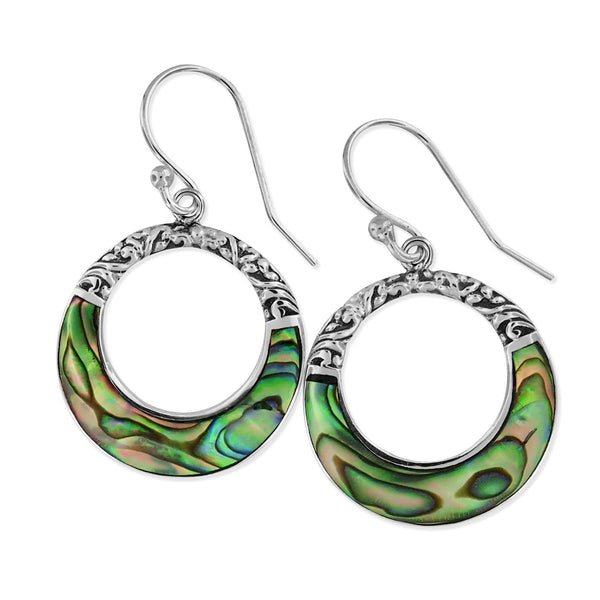 Sterling Silver Abalone Shell Circle Scroll Dangle Earrings