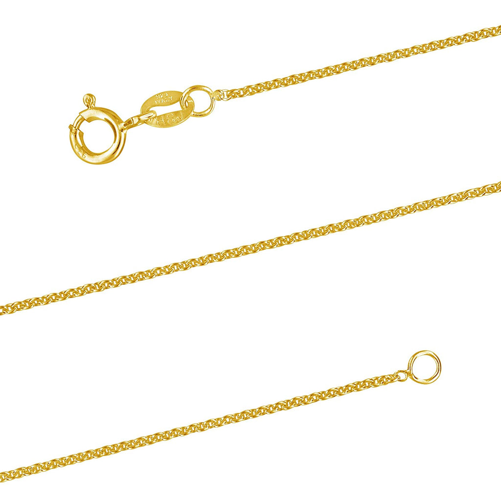 14kt Yellow Gold Plated Sterling Silver 1.3mm Cable Chain Necklace Nickel-Free, 15-24 Inch