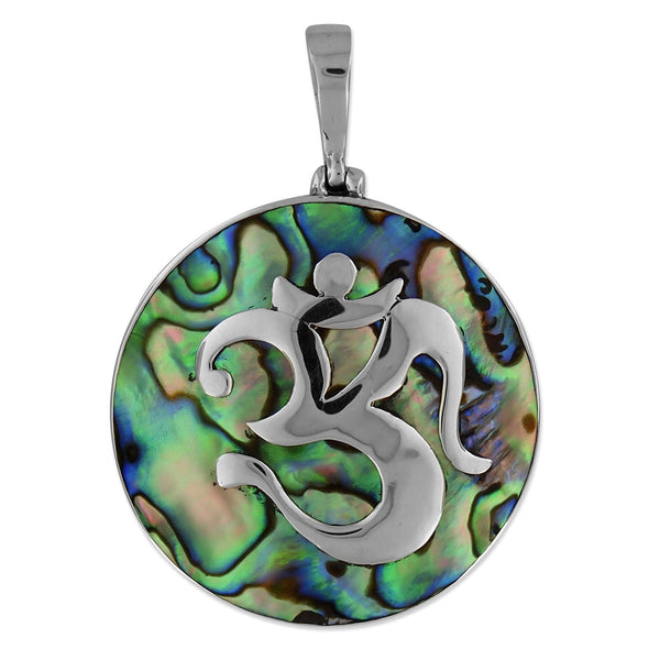 Sterling Silver Abalone Shell Ohm Medallion Pendant