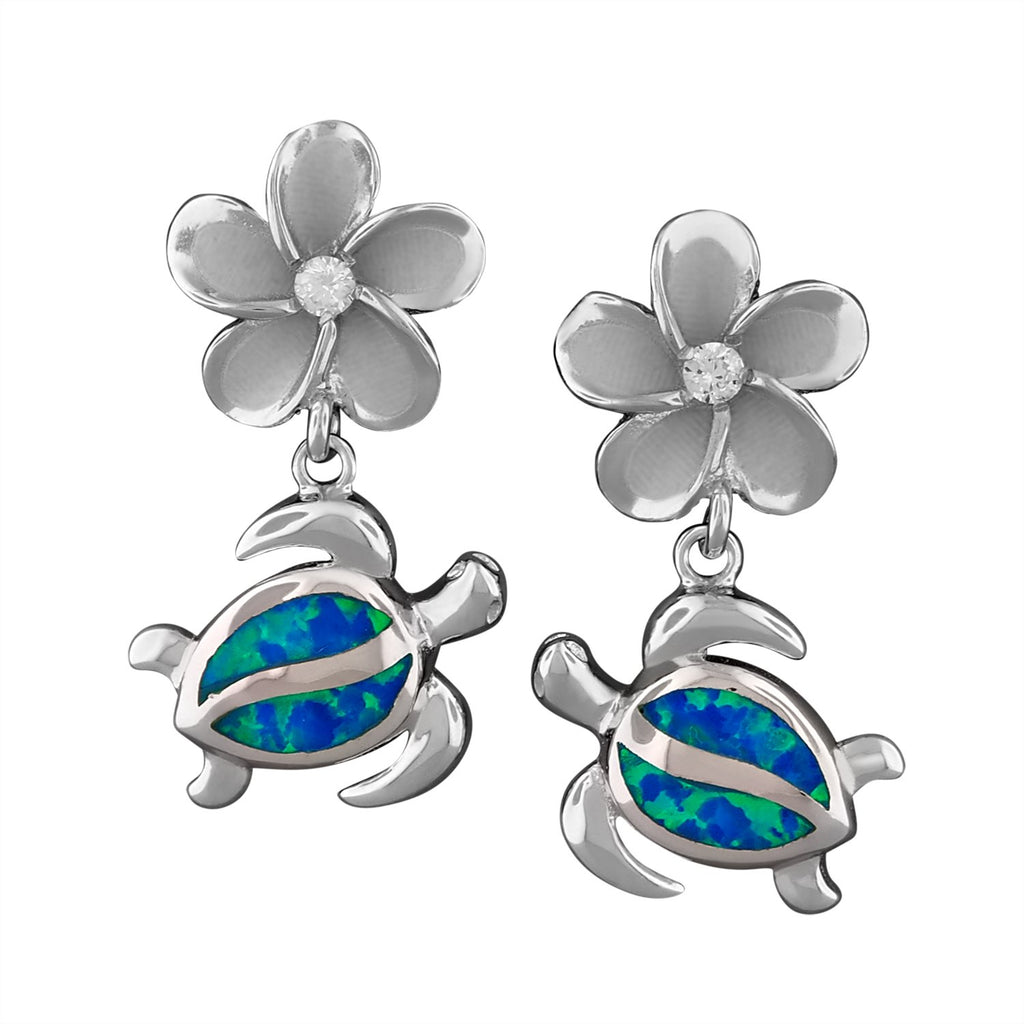 Sterling Silver Synthetic Blue Opal Plumeria Turtle Dangle Earrings