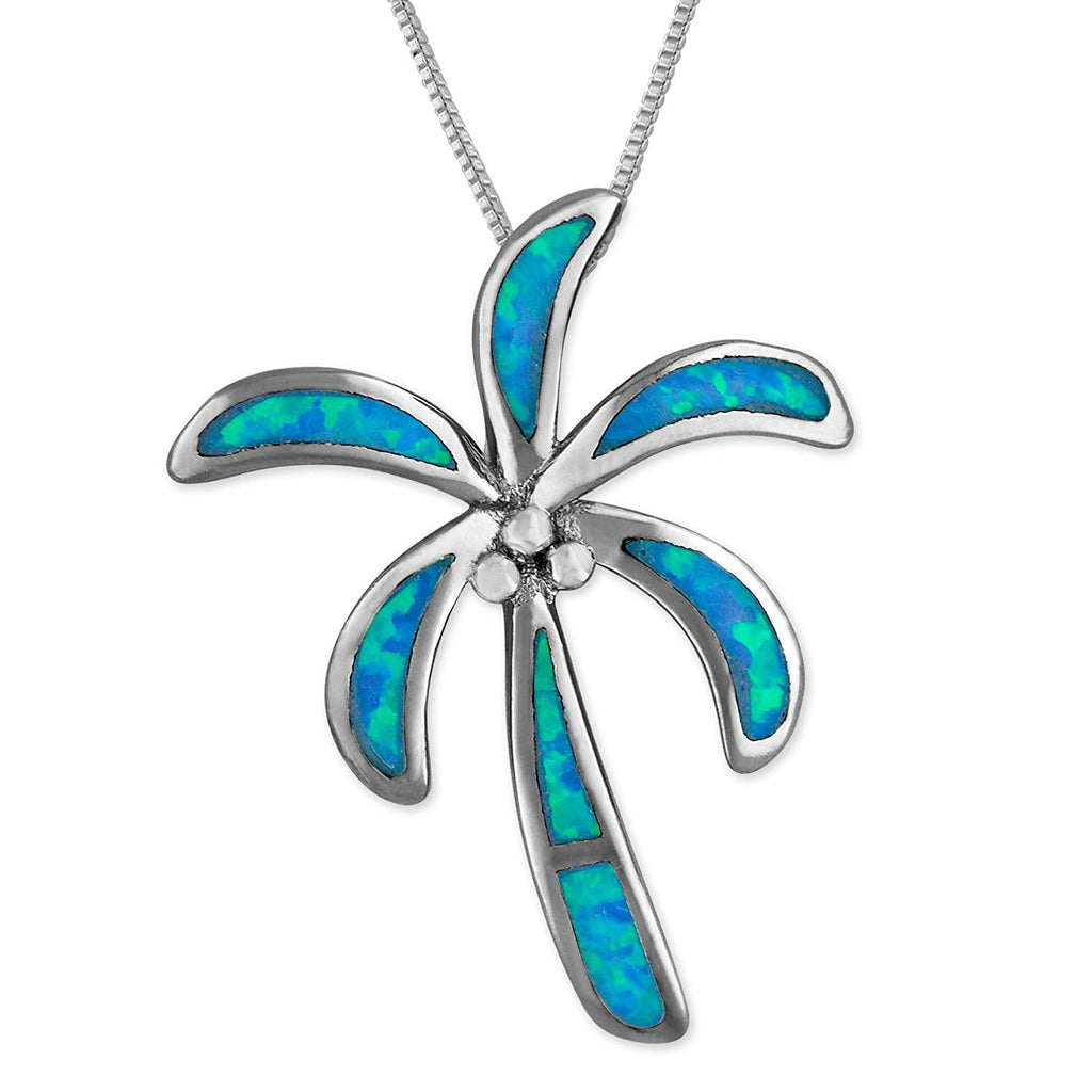 Sterling Silver Synthetic Blue Opal Palm Tree Pendant Necklace, 18+2