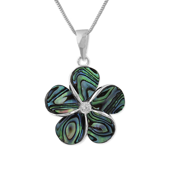 Sterling Silver Abalone Shell 16mm Plumeria Pendant Necklace, 16+2