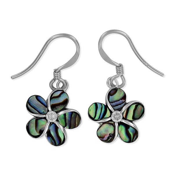 Sterling Silver Abalone Shell Plumeria Dangle Earrings