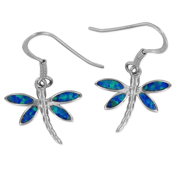 Sterling Silver Synthetic Blue Opal Dragonfly Dangle Earrings