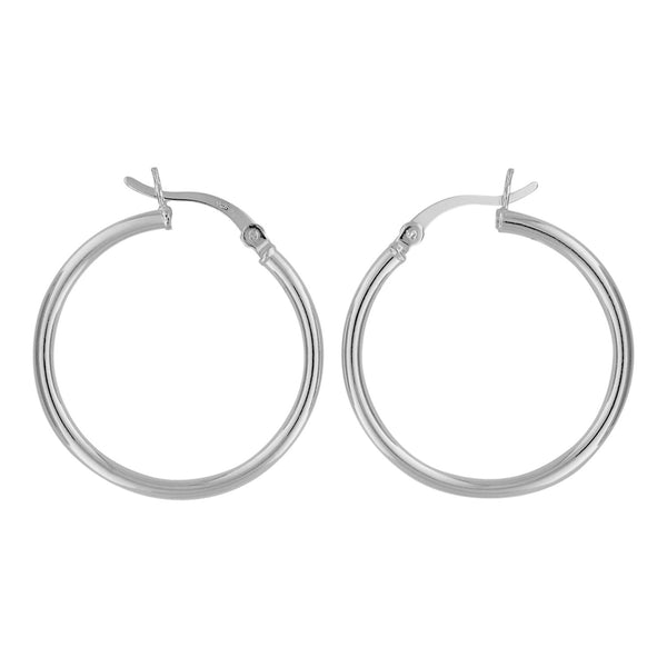 Sterling Silver Hoop Earrings 2mm x 28mm