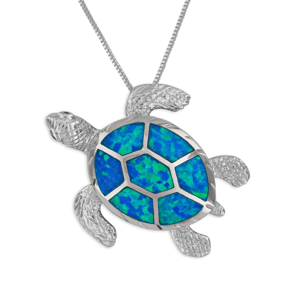 Sterling Silver Synthetic Blue Opal Turtle Pendant Necklace, 16+2