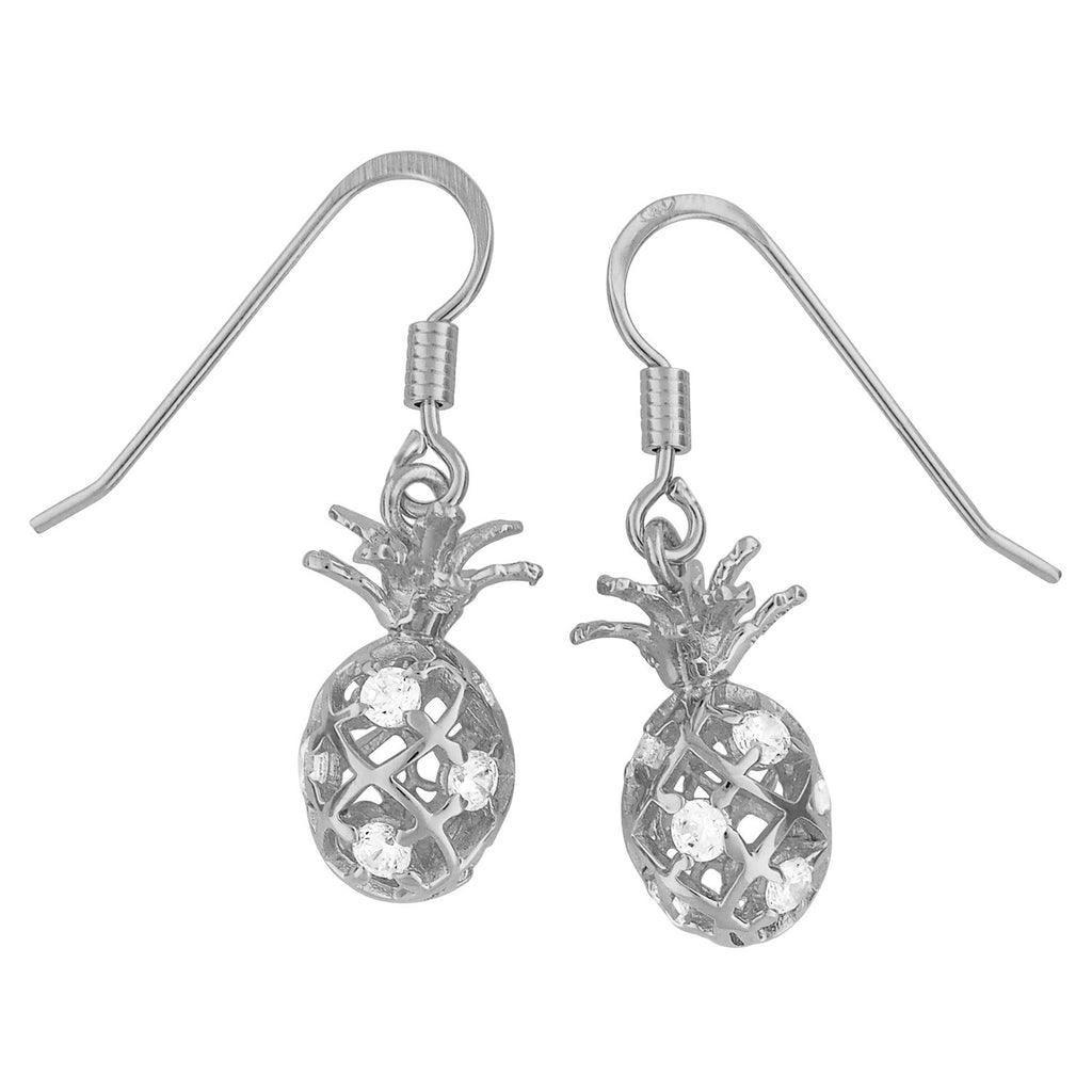 Rhodium Plated Sterling Silver Pineapple Dangle Earrings