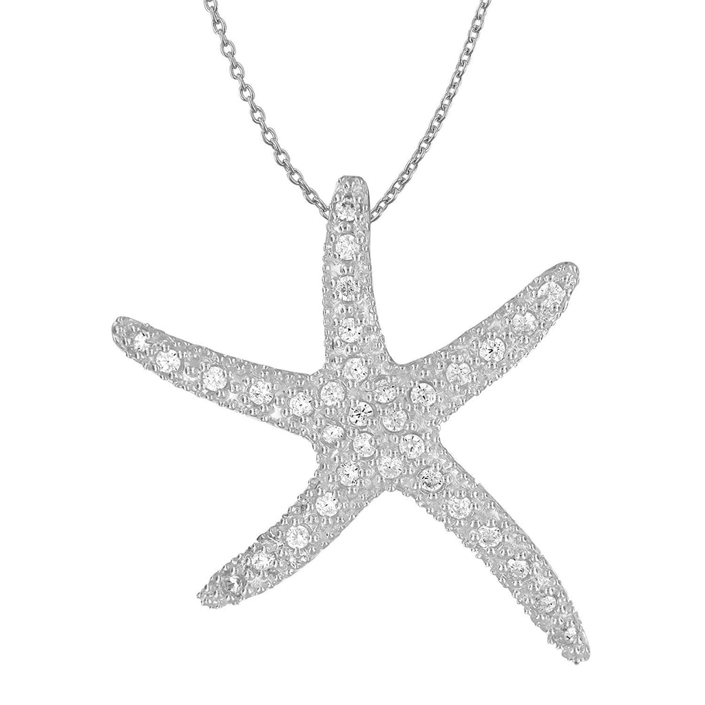 Sterling Silver Synthetic CZ Large Starfish Pendant Necklace, 18