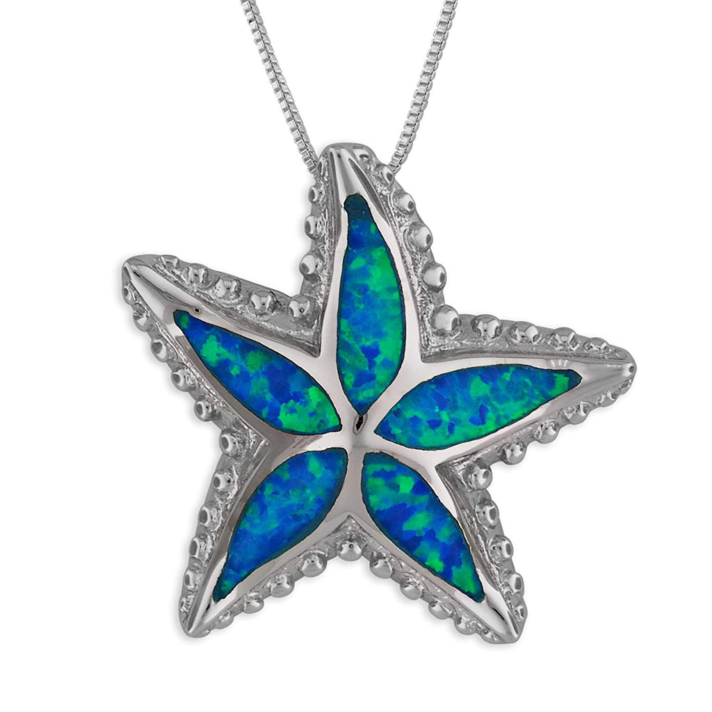 Sterling Silver Synthetic Blue Opal Starfish Pendant Necklace, 18+2