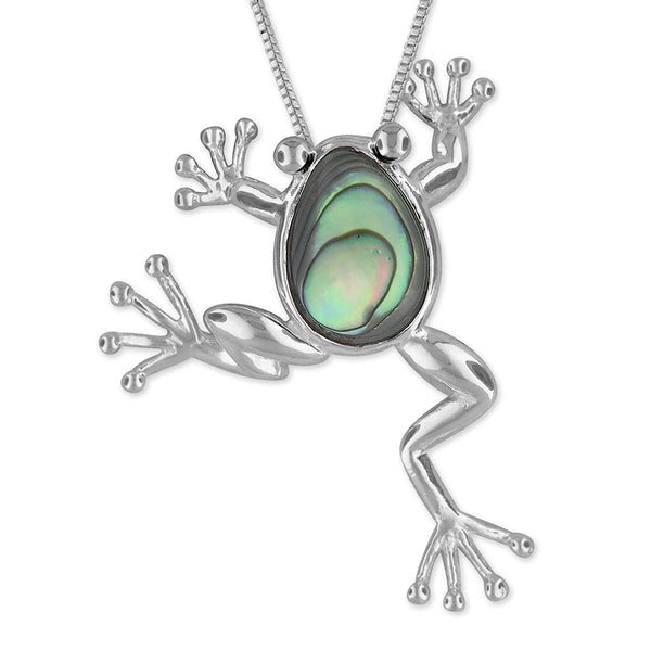 Sterling Silver Abalone Shell Lucky Frog Pendant Necklace, 18+2
