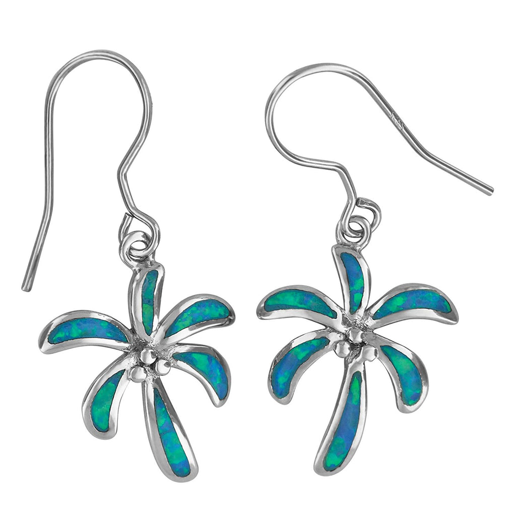 Sterling Silver Synthetic Blue Opal Palm Tree Dangle Earrings